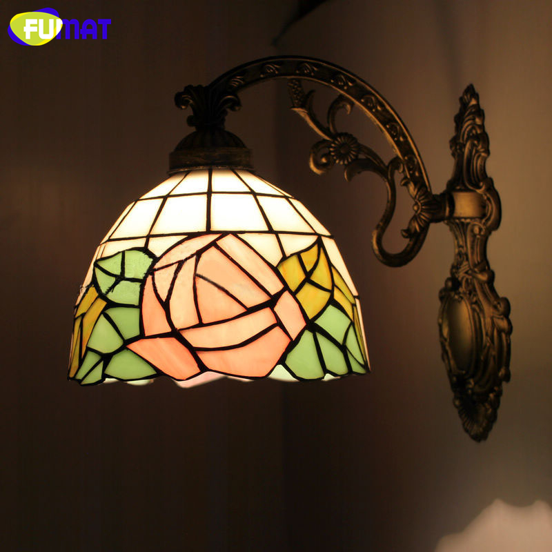 FUMAT Rose Wall Lamps Antique Mediterranean Style Stained Glass Wall Light Corridor Classic Bedroom Wall Sconce Light Fixtures fumat stained glass ceiling lamp european church corridor magnolia etched glass indoor light fixtures for balcony front porch