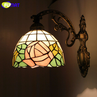 FUMAT Rose Wall Lamps Antique Mediterranean Style Stained Glass Wall Light Corridor Classic Bedroom Wall Sconce Light Fixtures