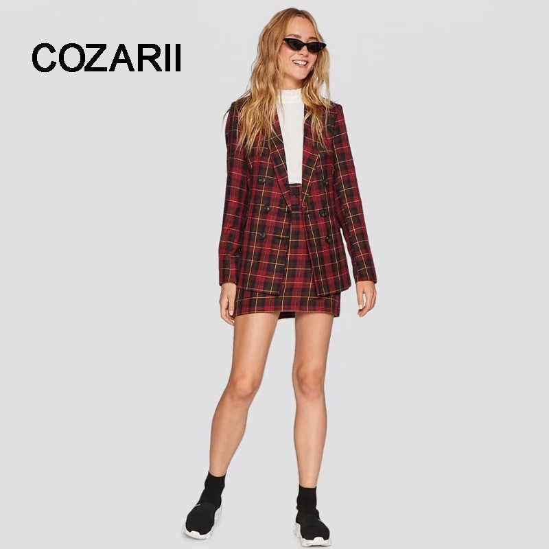 COZARII 2018 casaco feminino blazers england style double breasted plaid regular bomber blazers jacket plus size tops