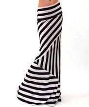 Fashion High Waist Maxi Skirts Womens saia Summer New 2018 Casual black white strip Lady High elasticity Long Skirt women XXXL