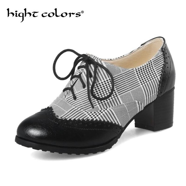 Fashion Vintage British Style Lace Up Thick High Heels Oxford Shoes For  Women Pumps Shoes Woman