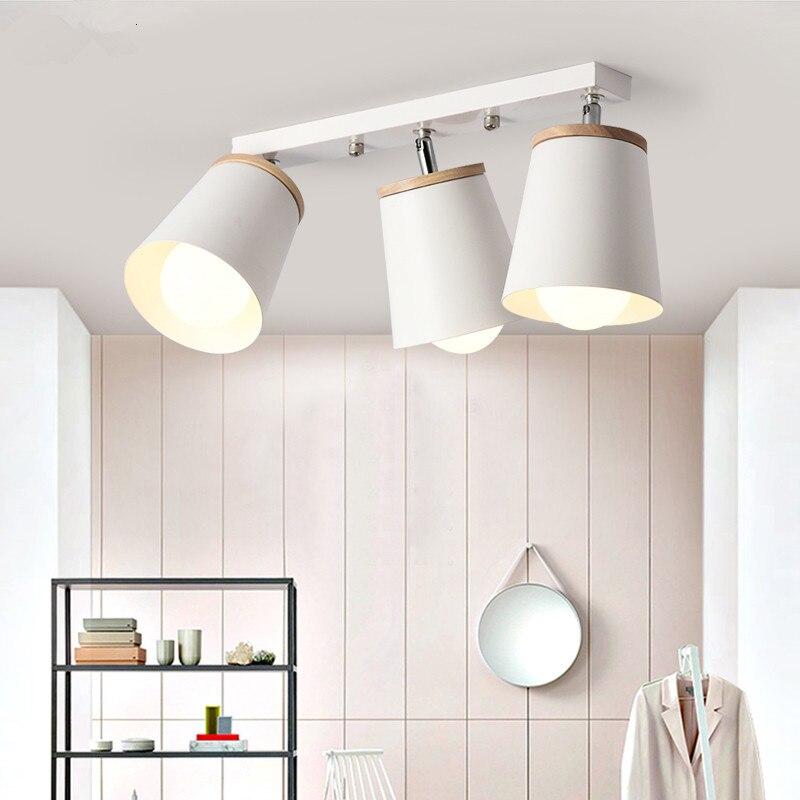 Modern White Ceiling Lights For Corridor Adjustable Metal Lamparas de techo Corridor E27 Indoor Wood Lighting FixturesModern White Ceiling Lights For Corridor Adjustable Metal Lamparas de techo Corridor E27 Indoor Wood Lighting Fixtures