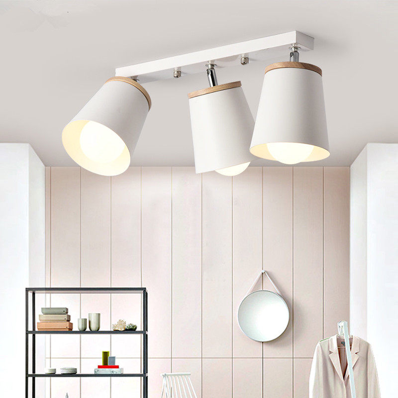 Nordic Rotate Wooden Ceiling Lamps Adjustable Metal Lampshade Chandeliers For Kicthen Corridor Indoor Lustre Lighting Fixtures