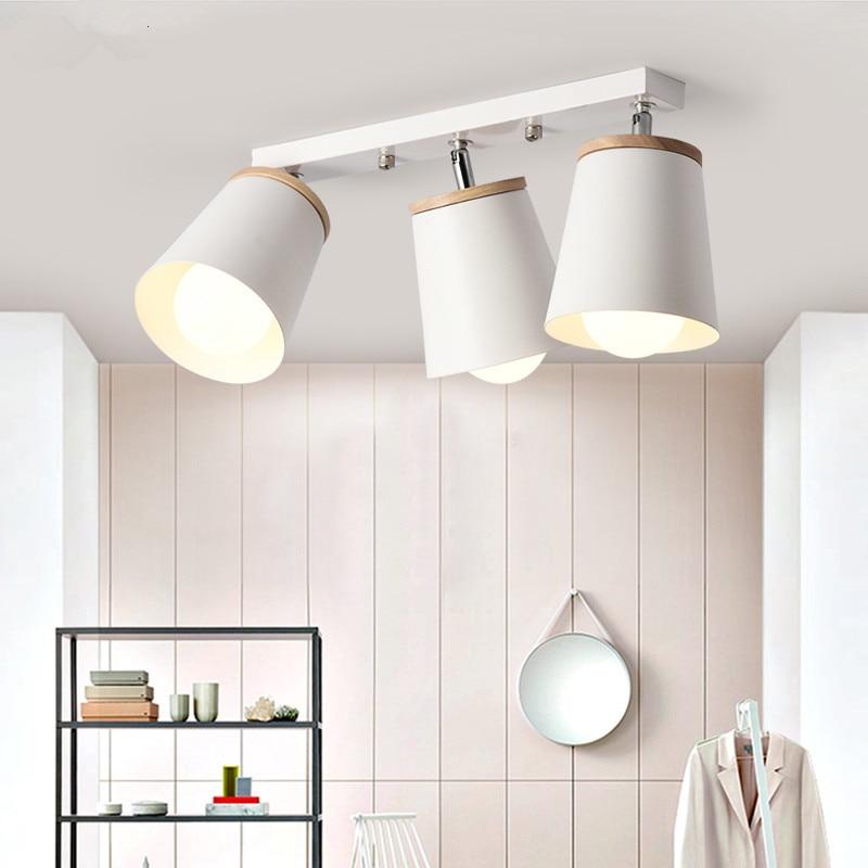 Nordic Rotate Wooden Ceiling Lamps Adjustable Metal Lampshade Chandeliers For Kicthen Corridor Indoor Lustre Lighting Fixtures