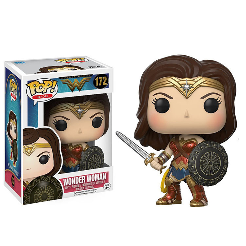Cool Funko POP Super Heros Wonder Woman #172 PVC Action Figure Collection Model Kids Toys Sexy Anime Figure Doll 10cm  funko pop wonder woman pvc action figure collectible model toy 10cm wonderwoman