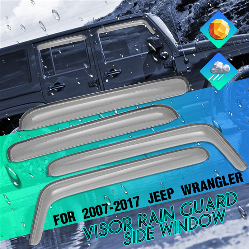 1Set Auto Door Wind Deflector Window Deflectors Translucent Window Visors Rain Guard for Jeep for Wrangler JK 4 Doors 2007-2017 цена