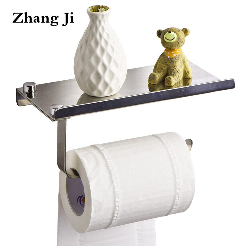 Modern design stainless steel Bathroom toilet Paper Holders Wall Mount Roll Tissue Rack 304 Roll paper holder with shelf ZJ018