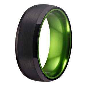Image 3 - Classic Rings For Women Mens Bridal Jewelry Wedding Engagement Rings Tungsten Ring Black Tungsten with Green Aluminum Ring