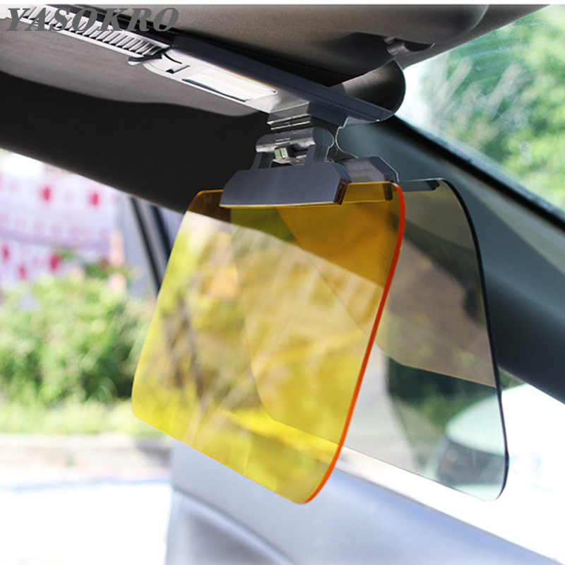 YASOKRO Car Sun Visor Day Night Anti-dazzle 2 In 1Dazzling Goggles Driving Fold Flip Down Mirror Card Slot  Clear View Visor
