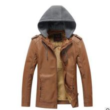 zozowang Leather Hooded Jacket Men Motorcycle Plush Polar Fleece HOOD Detachable PU Faux Biker