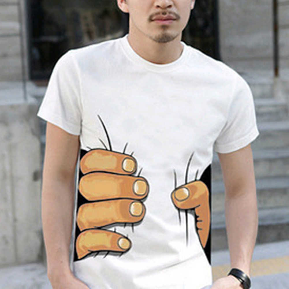 Hot Sale 3D Tangan Besar Dicetak & Tulang Pola T-Shirt Pria Pakaian 3D Visual Kepribadian Kreatif T Shirt Kasual Pendek lengan