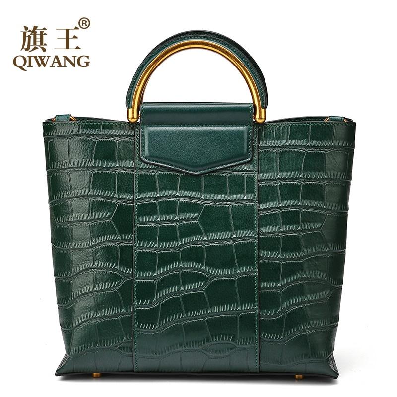Qiwang New Arrival Green Tote Bag Real Leather Women Crocodile Bags Luxury Brand Design Handbag Female