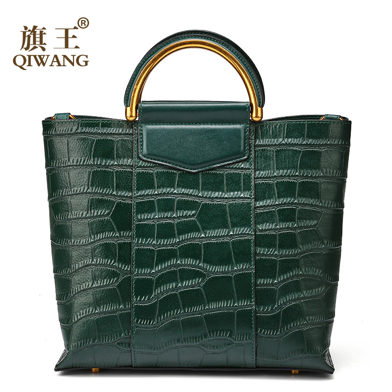 Qiwang New Arrival Green Tote Bag Real Leather Women Crocodile Bags Luxury Brand Design Handbag Female genuine leather bag Sales qiwang brand women bag genuine leather women shopping tote bag can change shape real leather handbag for women luxury