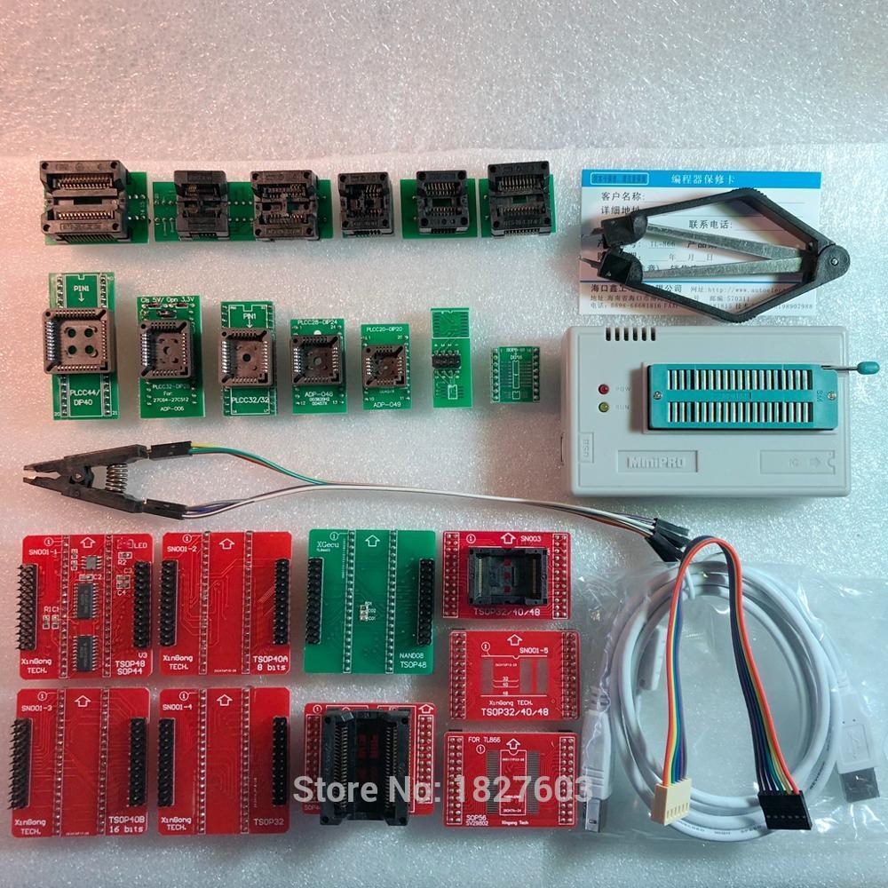 XGECU 100% véritable TL866II PLUS programmeur ICSP FLASH \ EEPROM \ MCU \ NAND + 22 adaptateurs + IC clip de test replaceTL866A tl866a