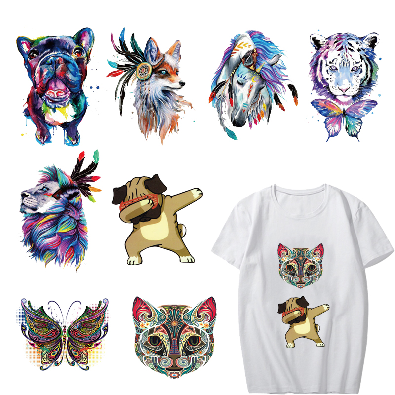 Colorful Animal Patches for Kids Clothes Heat Transfer Vinyl Iron on Dog Cat Unicorn Patch Stickers Appliqued DIY Thermal Press in Patches from Home Garden