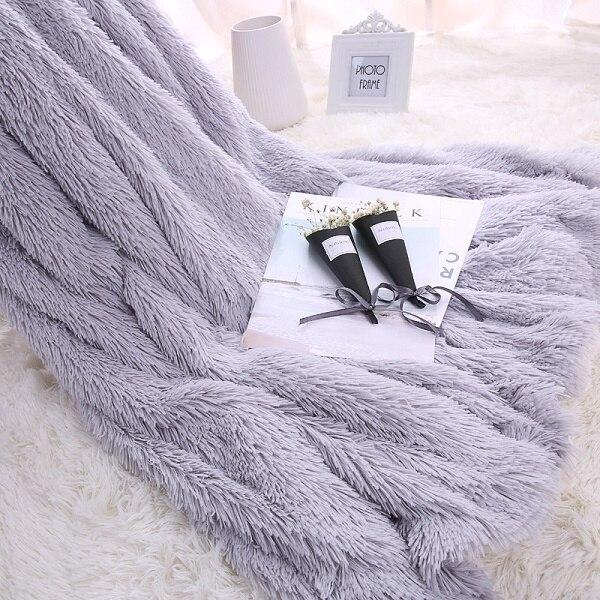 LYN & GY nouveau canapé/Air/literie longues couvertures Shaggy jeter Mantas blanc rose gris polaire moelleux peluche Sherpa Plaids couvre-lit