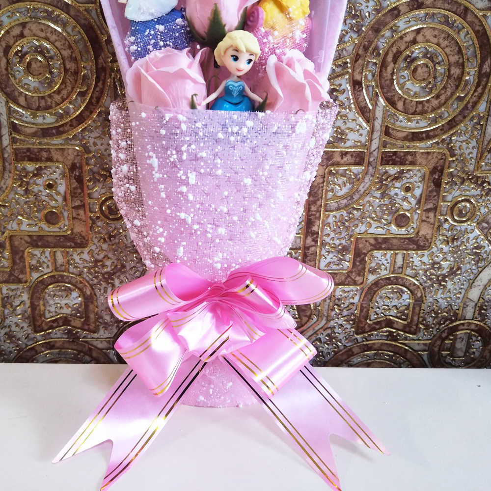 Bolafynia Kartun Putri Salju Bunga Sabun Mainan Bouquet untuk Ulang Tahun Valentine Ulang Tahun Hadiah Natal Mainan Bouquet dengan Kotak