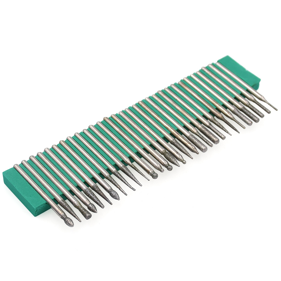 цена на 30pcs 3.0mm Shank Diamond Wood Stone Engraving Grinding Abrasive Wheel Burs Bits Drill For Dremel Accessories Rotary Tool