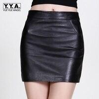 2017 New Fashion Slim Fit Women Genuine Leather Sheepskin Skirt Female Falda Plus Size A Line