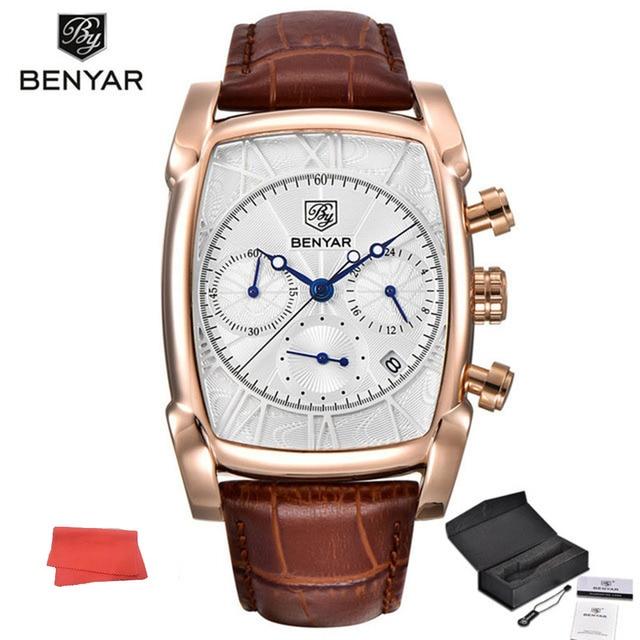 97fe0867b3f Benyar Design Clássico Homens Relógio Quadrado Algarismos Romanos Dial  Sports Relógio de Pulso Cronógrafo de Quartzo