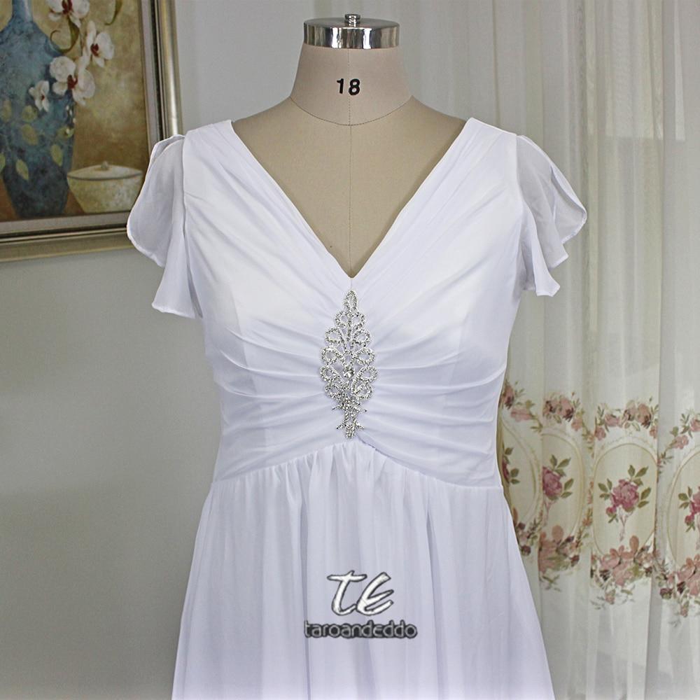 Flattering Cap Sleeves Ruched Plus Size White Chiffon Wedding Dress with Metal Court Train Bridal Dress vestido branco