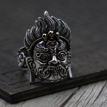 S925 Sterling Silver Vintage exaggerated personality evil angry men domineering Ring Silver Ring