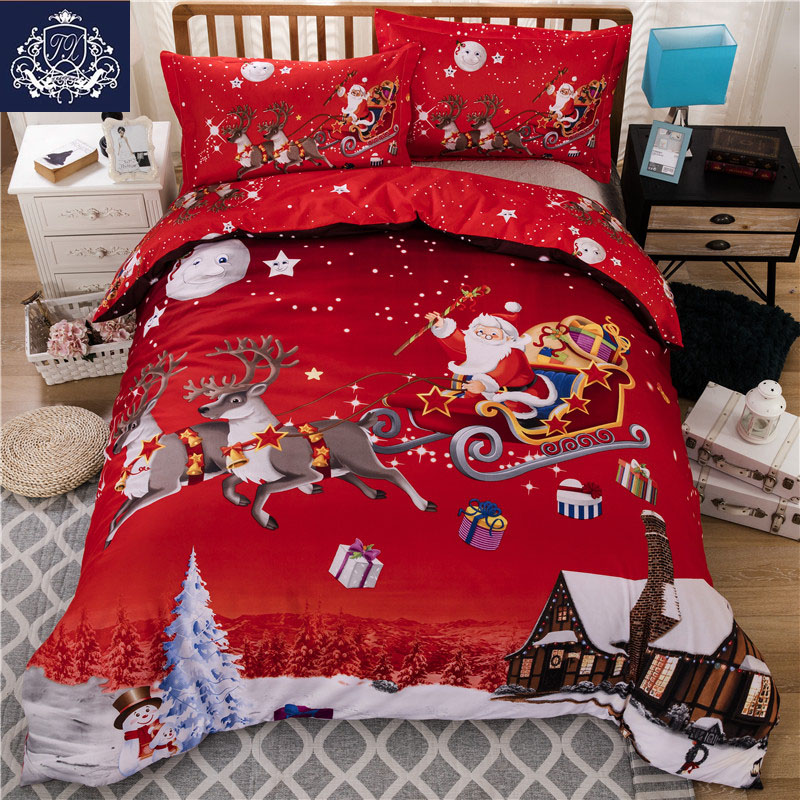 Christmas Bedding Red Color Santa Claus Bed Linen Christmas Decorations For Bedroom Queen King Size Duvet