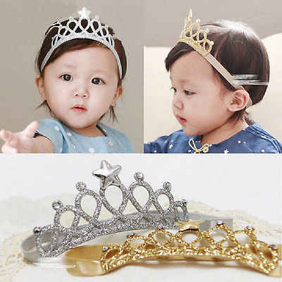 Plata oro bebé niño niña cumpleaños corona Tiara banda de pelo accesorio de cabeza