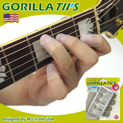 Gorilla Tips by IM Fingertip Protector Cover in Clear/Blue Pain Relier for Guitar Bass Ukulele Players String Finger Guards