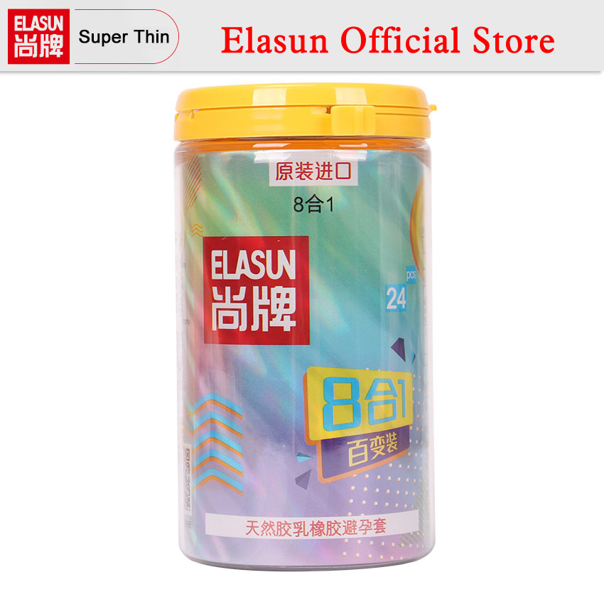 ELASUN Condoms Natural Latex 24 PCS 8 Types Ultra thin Ice and Fire Dotted Double Lubricated Condom Sex Toys For Men