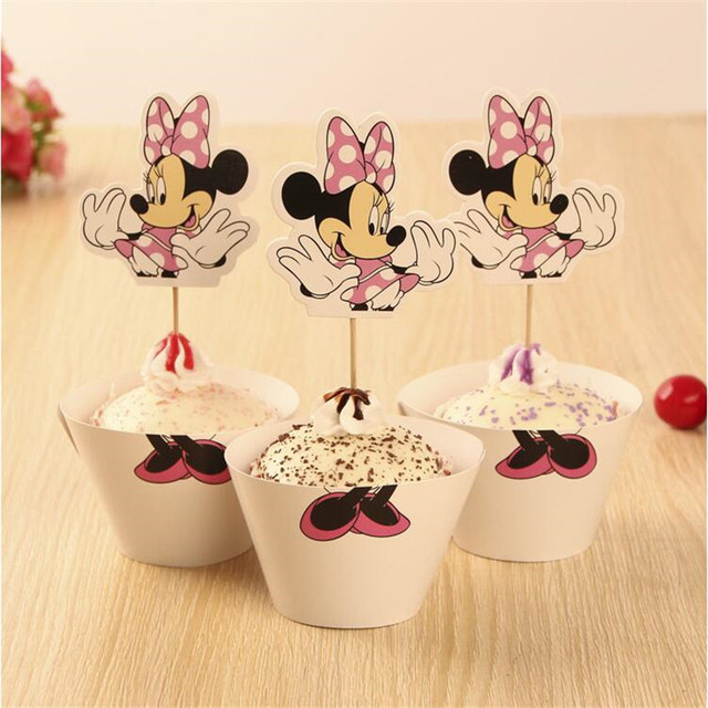 US $4.91  Wholesale Minnie Mouse cupcake wrappers toppers cake picks  birthday party baby shower decorations supply favors for kids cartoon-in  Cake ...