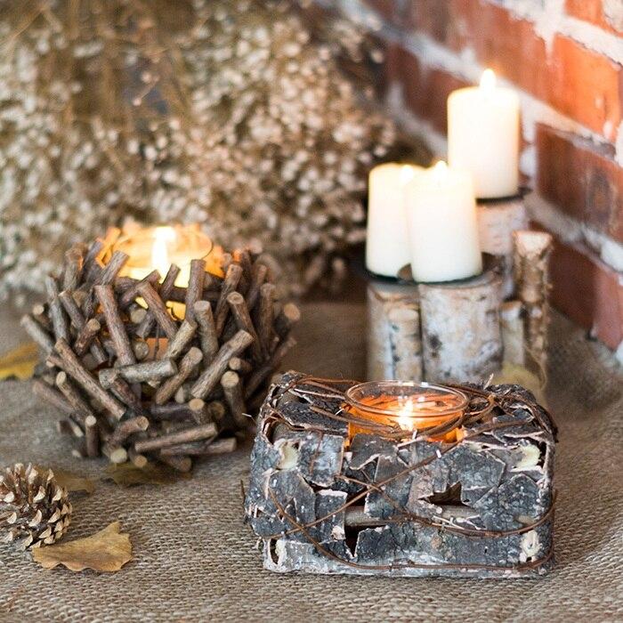 [] Handmade Wooden Lantern Candle Ju Han Lantern Casamento Decorative Logs  Birch Bark Natural Ecological