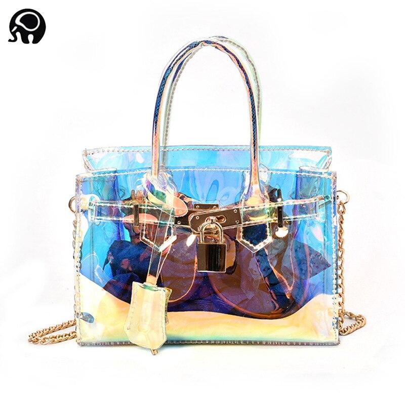 2018 Для женщин Пластик сумка прозрачный Лазерная сумочка клатч через плечо цепи мешок четких мешок вечерние кошелек