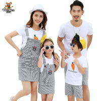 Family Clothes Summer Striped Mother Daughter Dress Family Matching Outfits Father Son T Shirt And Shorts