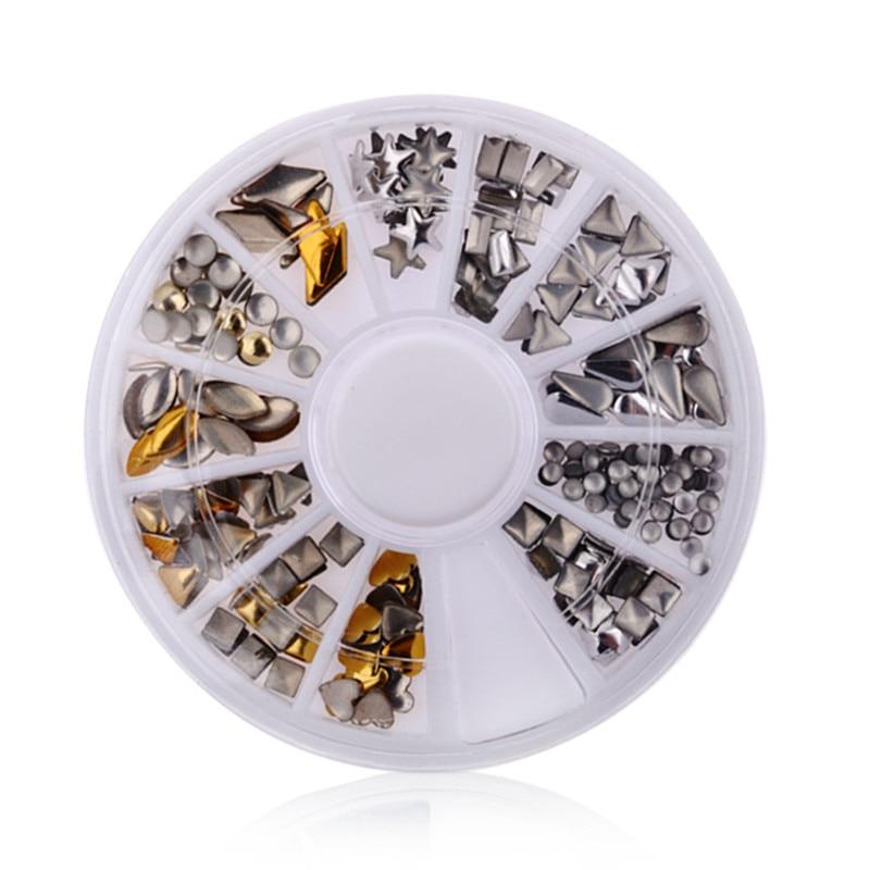 200pcs set DIY Gold silver Metal Rivet Copper Glitter Rhinestones Jewelry Nail Art Decorations Manicure tools