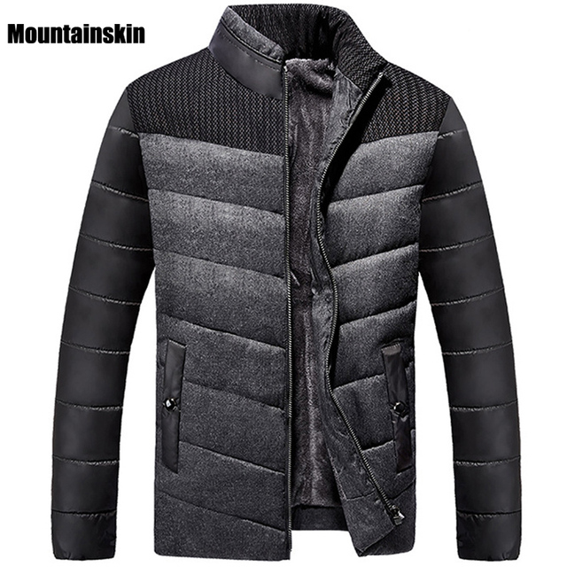 Mountainskin 5XL 2017 Winter Men's Down&Cotton Jacket Fleece Thick Thermal Patchwork Coats Casual Stand Collar Warm Parka SA113