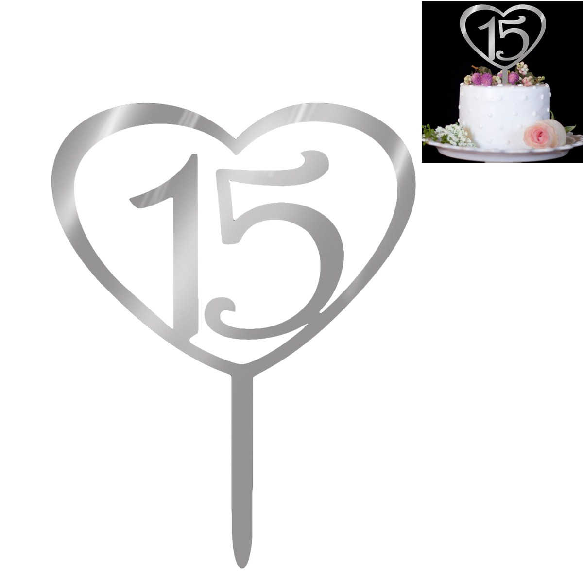 NICEXMAS Number 15 Cake Topper Love Heart Shape Acrylic Cupcake Toppers for 15th Birthday Wedding Anniversary Party Supplier