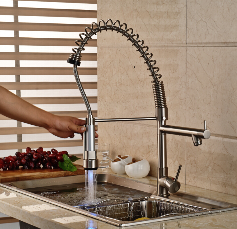 Nickel Brushed LED Swivel Spout Spring Kitchen Faucet Dual Sprayer Vessel Sink Mixer Tap antique brass swivel spout dual cross handles kitchen