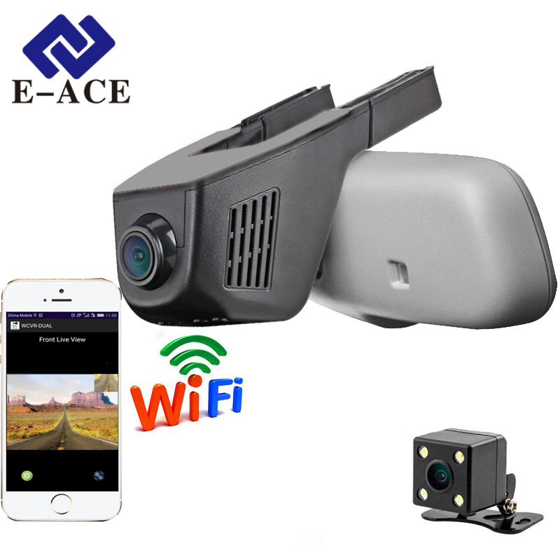 E-ACE Car Dvr WIFI DVR'er Dual Camera Lens Registrering Dashcam Digital Video Recorder Videokamera Full HD 1080P 30FPS Night Version