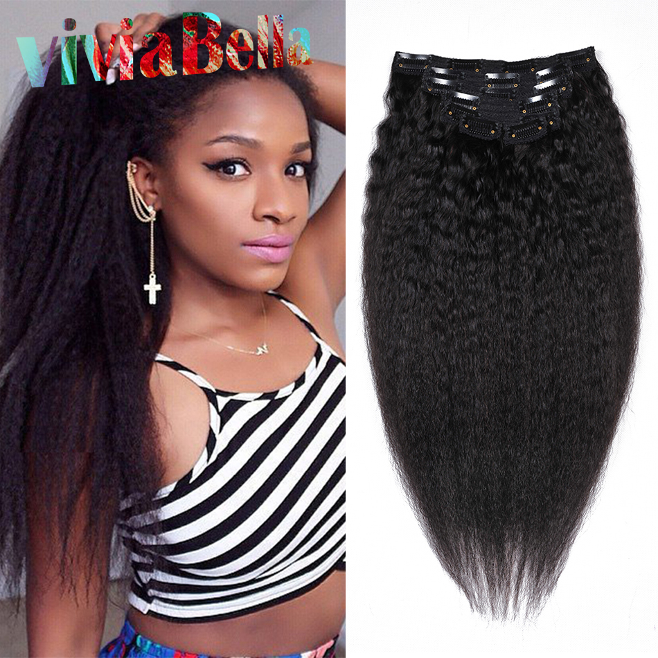 Human Hair Clip In Extensions Kinky Straight 7Pcs Natural