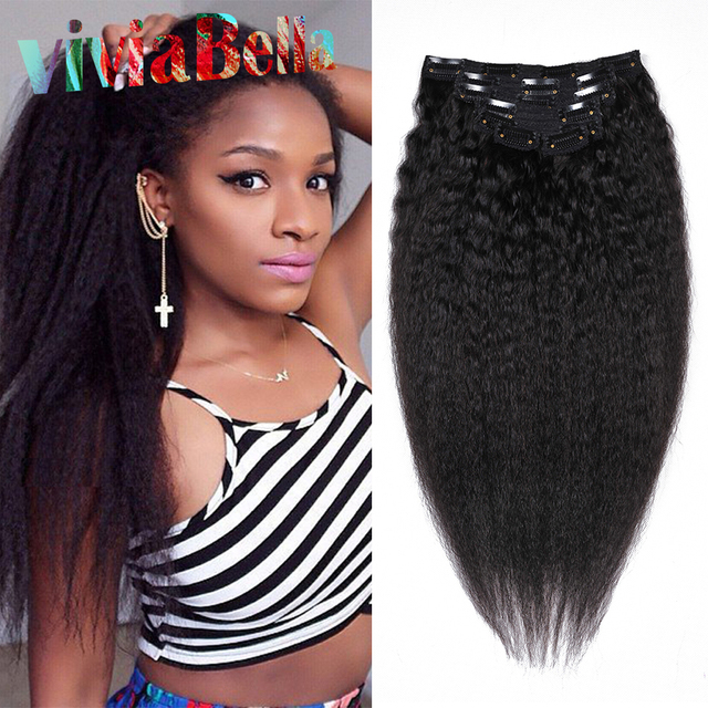 Human Hair Clip In Extensions Kinky Straight 7pcs Natural Hair Kinky