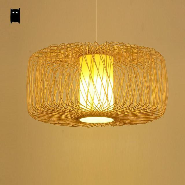 Handmade Bamboo Wicker Rattan Lampshade Pendant Light Fixture Asian Rustic Country Vintage Hanging Ceiling Lamp Avize