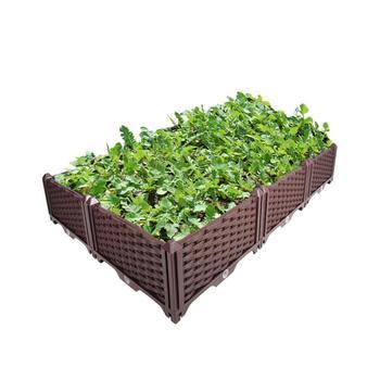 DIY Taman Outdoor Indoor Coklat Double Row Planter Tumbuh Kotak Sayuran Bunga Succulents Patio Yard HP00-10/11