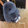 100% Auténtico Real Rex Pieles de Conejo Conejito Llavero Colgante Del Coche Etiqueta encanto Lindo Mini Muñeca de Juguete Conejo Real Fur Monster Llaveros