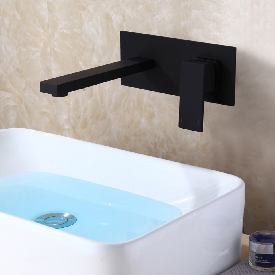 C C Matte Frosted Black Sink Faucet Hot And Cold Water Wall Mount Basin Mixer Faucet