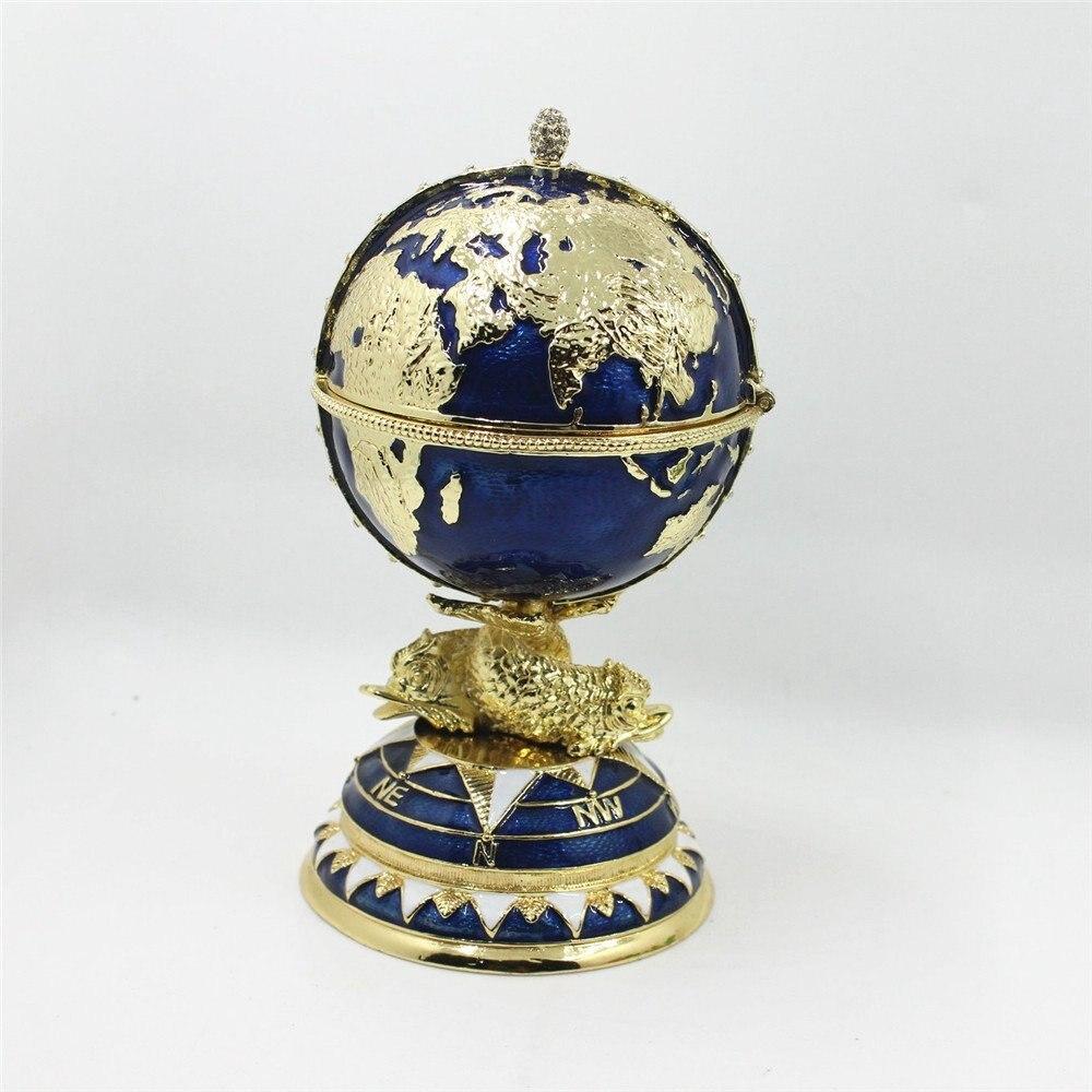 FengShui Ovo Fabergé Trinket Box com Globo e Navio Casa Caixa Decorativa 2017 Ovo Fabergé Decorativos/Trinket Caixa de Jóia