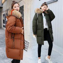 Brieuces 2017 new plus size print hooded faux fur collar winter jacket women fashion long parkas keep warm coat