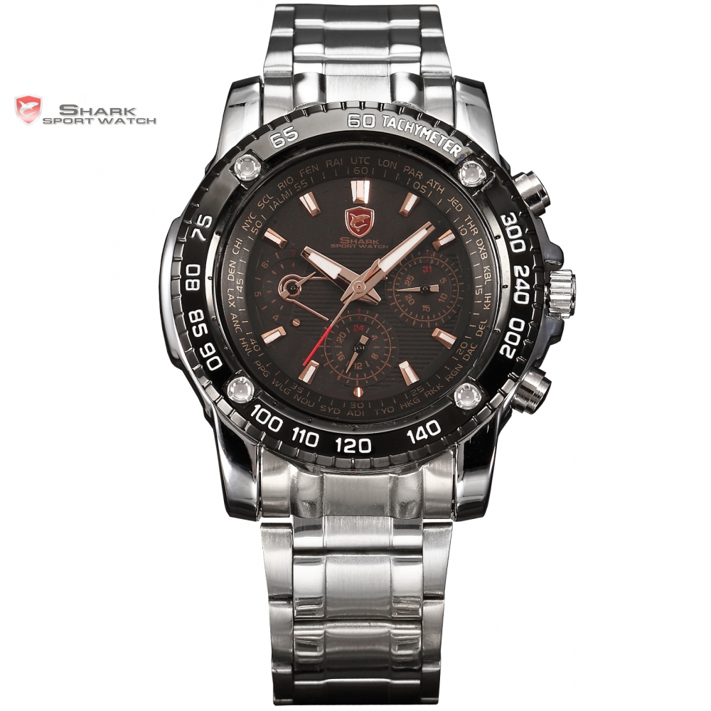 Saw SHARK Sport Watch Black Golden 6 Hands Date 24 Hours Stainless Full Steel Christmas Men