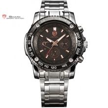 Vu shark sport black watch or 6 mains date 24 heures Inoxydable En Acier Plein De Noël Hommes Militaire Poignet Montres À Quartz/SH017