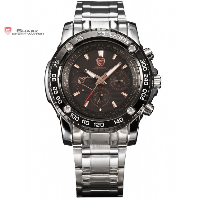 saw shark sport watch black golden 6 hands date 24 hours stainless full steel christmas men - Watch Black Christmas